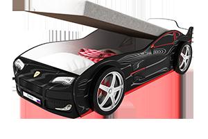 Турбо Черная с подъемным матрасом - кровать-машинка. Серия механизмом