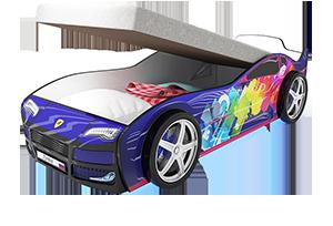 Турбо синяя 2 с подъемным матрасом - кровать-машинка. Серия механизмом