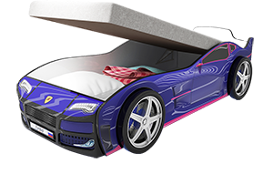 Турбо Синяя с подъемным матрасом - кровать-машинка.