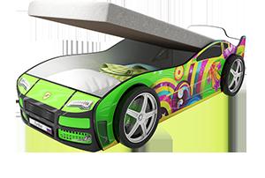 Турбо Зеленая с подъемным матрасом - кровать-машинка. Серия механизмом