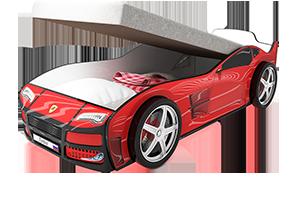 Турбо Красная с подъемным матрасом - кровать-машинка. Серия механизмом