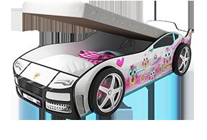 Турбо Белая 2 с подъемным матрасом - кровать-машинка. Серия механизмом