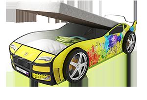 Турбо Желтая 2 с подъемным матрасом - кровать-машинка. Серия механизмом